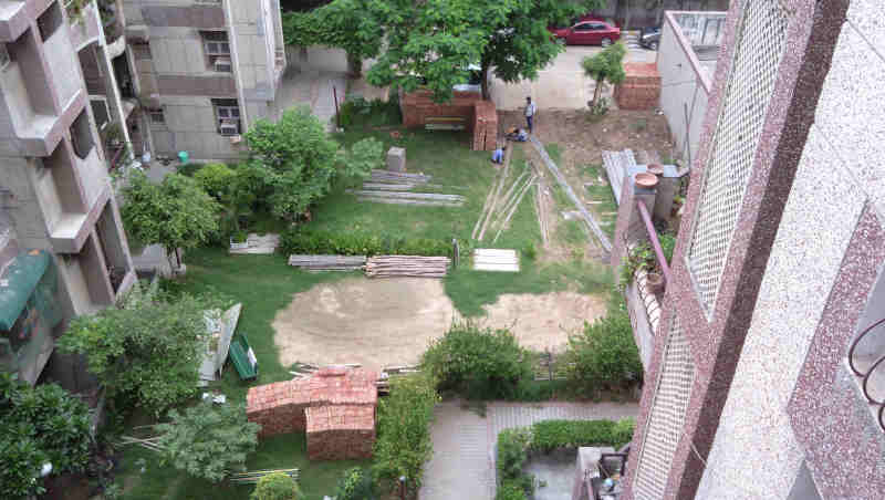 With FAR construction material, DPS CGHS MC has destroyed the green parks where children used to play in the Society building.