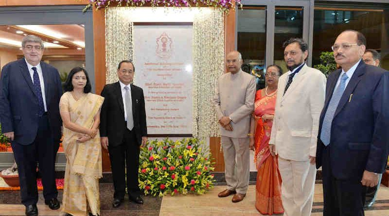 President of India, Ram Nath Kovind, inaugurates the Additional Building Complex of the Supreme Court and receives translations of 100 SC judgements in regional languages on July 17, 2019. Photo: Rashtrapati Bhavan