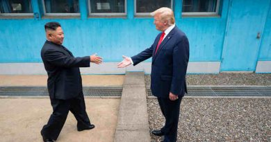 US President Donald Trump shakes hands with the Chairman of the Workers' Party of Korea Kim Jong-un as the two leaders meet at the Korean Demilitarized Zone which separates North and South Korea on 30 June 2019. Photo: White House / Shealah Craighead