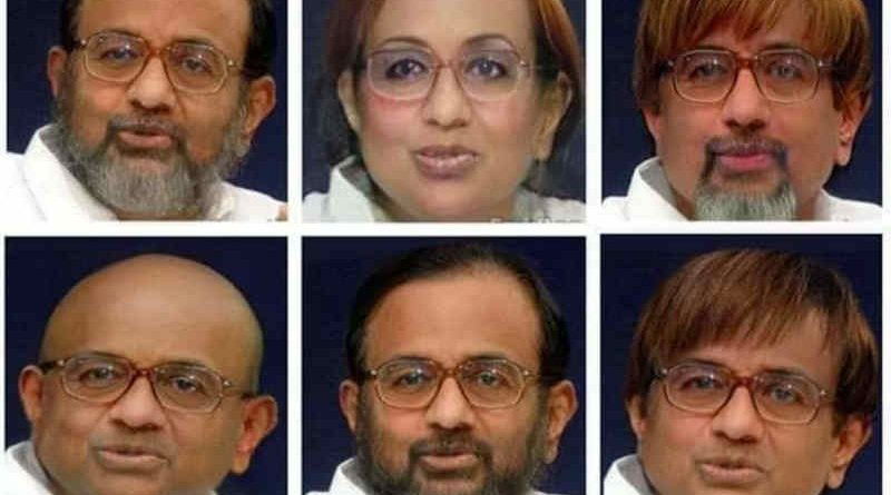 Twitter followers are sharing Chidambaram's face in different appearances so that he could be identified and arrested. Photo: Twitter