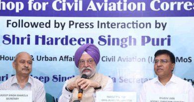 Hardeep Singh Puri addressing the media workshop for civil aviation correspondents, in New Delhi on August 29, 2019. Photo: PIB