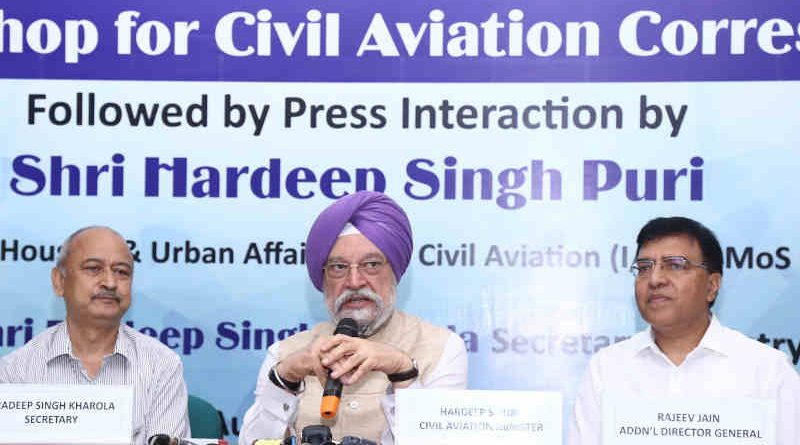 Hardeep Singh Puri addressing the media workshop for civil aviation correspondents, in New Delhi on August 29, 2019. Photo: PIB