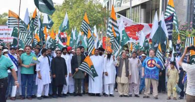 A Kashmir solidarity rally under the banner #PakistanStandsWithKashmir being held in Islamabad on August 23. Photo: Information Department of Pakistan Government