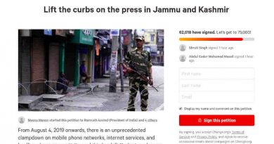 Petition: Lift the Curbs on the Press in Jammu & Kashmir. Photo: Screenshot from Change.org