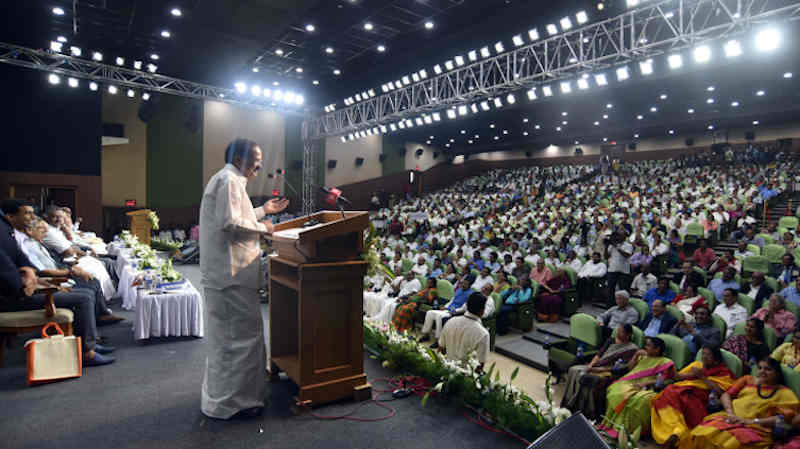 M. Venkaiah Naidu, addressing the gathering at an event to release the Book 'Listening, Learning and Leading', published by the Ministry of Information & Broadcasting, on the occasion of completing two years in office as the Vice President of India, in Chennai on August 11, 2019. Photo: PIB
