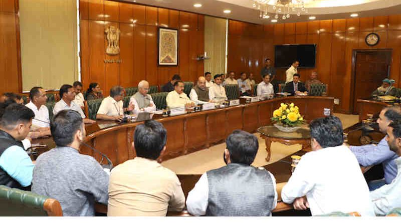 Amit Shah chairing a meeting with different groups of representatives from Jammu and Kashmir, in New Delhi on September 03, 2019. Photo: PIB