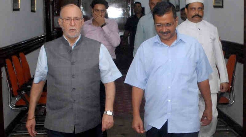 Lt. Governor (LG) of Delhi Anil Baijal with Delhi chief minister (CM) Arvind Kejriwal. Photo: LG Office