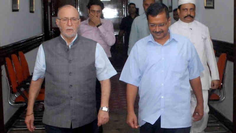 Lt. Governor (LG) of Delhi Anil Baijal with Delhi chief minister (CM) Arvind Kejriwal. Photo: LG Office