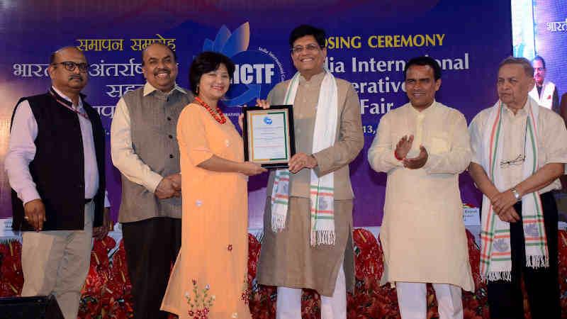 Piyush Goyal at the closing ceremony of the India International Cooperatives Trade Fair (IICTF), at Pragati Maidan, New Delhi on October 13, 2019. Photo: PIB