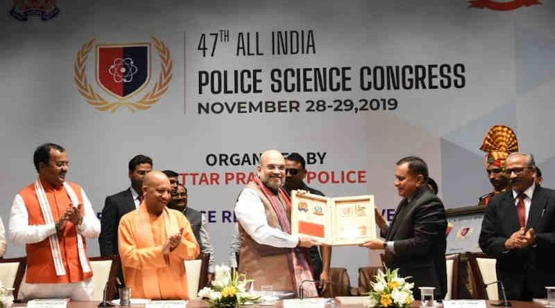 Union Home Minister, Amit Shah presiding over the 47th All India Police Science Congress in Lucknow, Uttar Pradesh on November 29, 2019. The Chief Minister of Uttar Pradesh, Yogi Adityanath is also seen. Photo: PIB