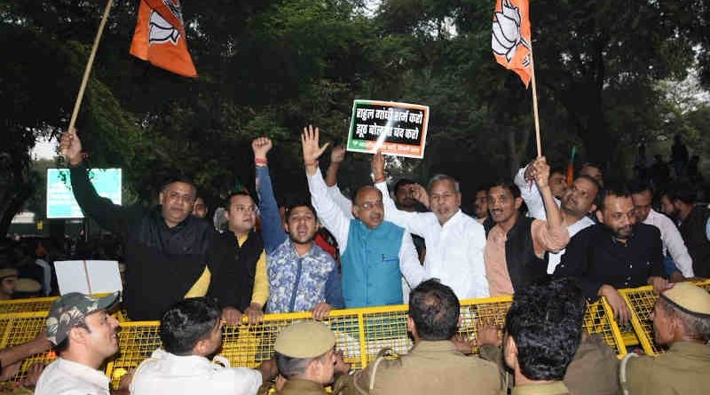 The Delhi unit of BJP holding demonstration on November 15, 2019 demanding apology from Congress leaders – particularly Rahul Gandhi – for telling lies in the Rafale corruption case. Photo: BJP