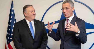 US Secretary of State Mike Pompeo with NATO Secretary General Jens Stoltenberg at NATO Headquarters on 20 November 2019. Photo: NATO
