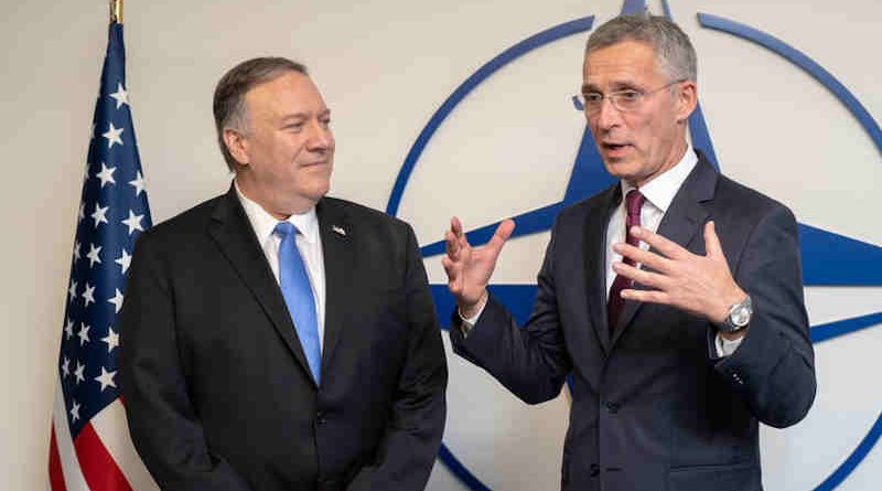 US Secretary of State Mike Pompeo with NATO Secretary General Jens Stoltenberg at NATO Headquarters on 20 November 2019. Photo: NATO