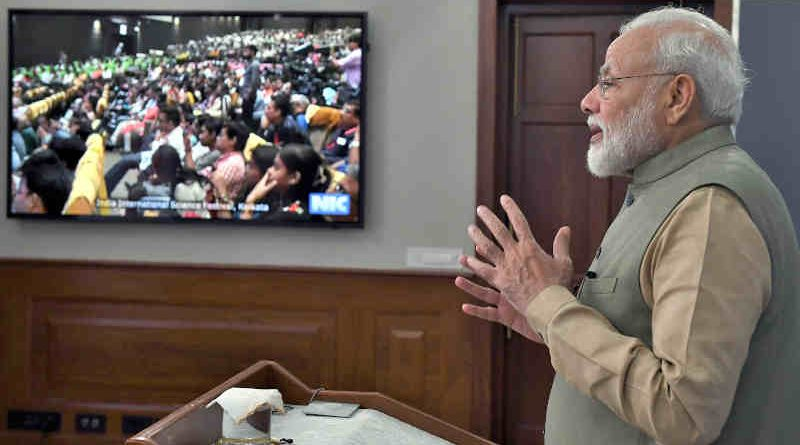 Narendra Modi addressing the gathering at the inauguration of the 5th India International Science Festival via video conferencing, in New Delhi on November 05, 2019. Photo: PIB
