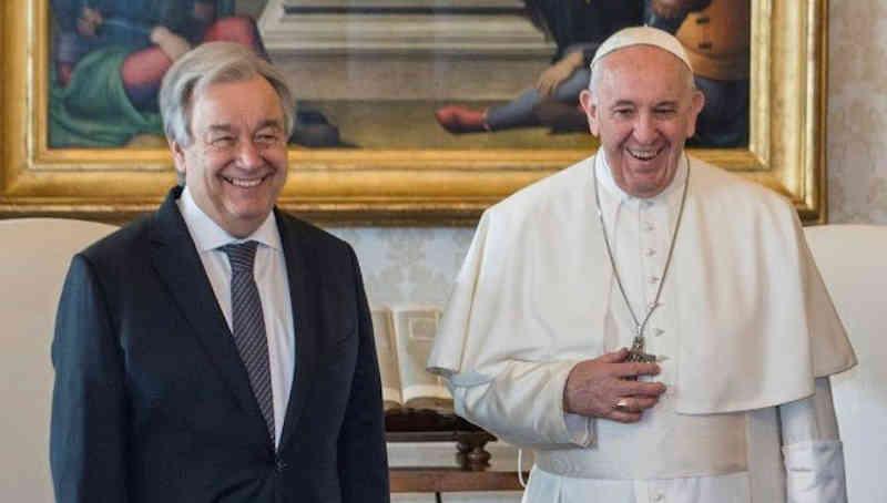 UN Secretary-General António Guterres with Pope Francis. Photo: UN
