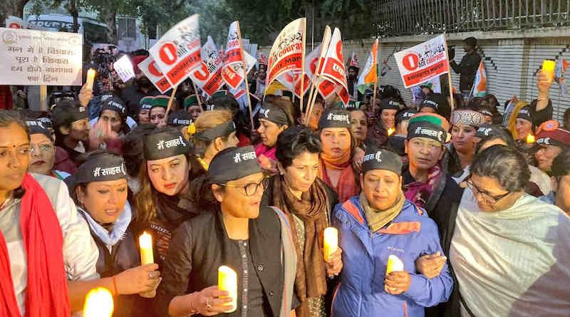 As the crimes against women are increasing in India, the All India Mahila Congress – the women wing of Congress party – held a demonstration in Delhi on December 13, 2019. Photo: All India Mahila Congress
