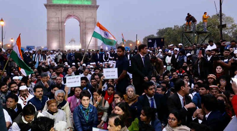 Congress leader Priyanka Gandhi holding a massive rally in New Delhi on December 16, 2019 to protest against the Modi government's anti-Muslim laws. Photo: Congress
