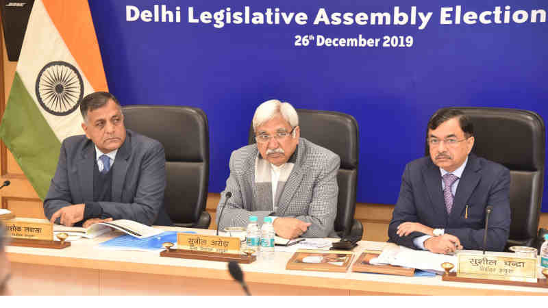 The Chief Election Commissioner, Sunil Arora reviews the meeting on poll preparedness for Delhi Assembly Election, in New Delhi on December 26, 2019. The Election Commissioners, Ashok Lavasa and Sushil Chandra are also seen. Photo: PIB