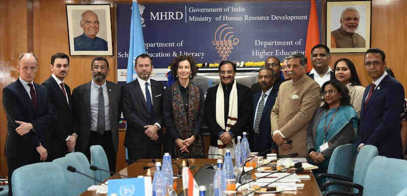 The DG, UNESCO, Ms. Audrey Azoulay meeting the Union Minister for Human Resource Development, Dr. Ramesh Pokhriyal 'Nishank', in New Delhi on February 04, 2020. The Secretary, Department of School Education & Literacy, Shri Amit Khare and other dignitaries are also seen. Photo: PIB