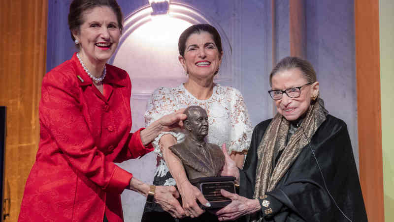 U. S. Supreme Court Justice Ruth Bader Ginsburg, right, receives the LBJ Liberty & Justice for All Award from Lynda Johnson Robb, left, and Luci Baines Johnson at the Library of Congress in Washington, D.C., on Jan. 30, 2020. Photo: LBJ Foundation / Jay Godwin