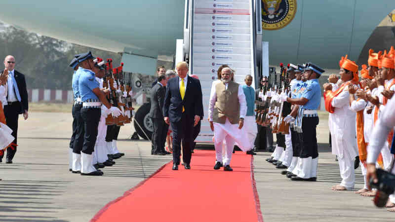 Donald Trump with Narendra Modi on February 24, 2020. Photo: PIB