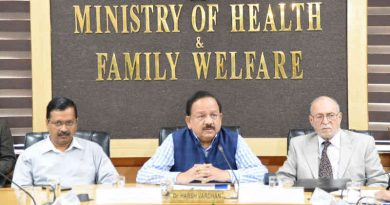 The Union Minister for Health & Family Welfare, Dr. Harsh Vardhan chairing the review and coordination meeting on COVID-19, in New Delhi on March 09, 2020. The Lt. Governor of Delhi, Anil Baijal and the Chief Minister of Delhi, Arvind Kejriwal are also seen. Photo: PIB
