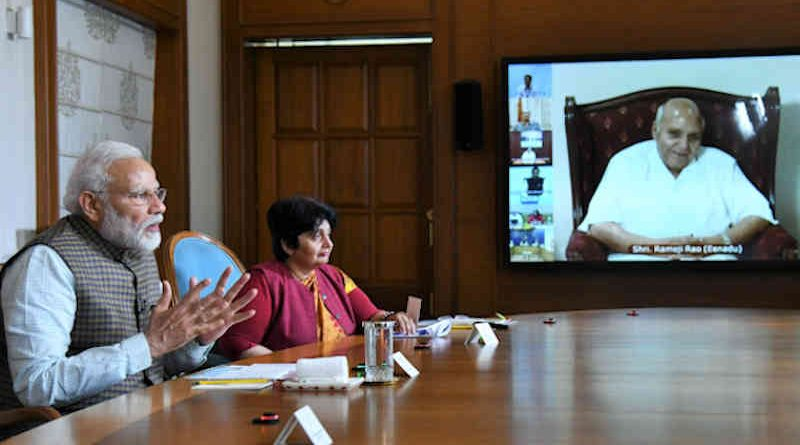 Narendra Modi speaking about COVID-19 through video conference in New Delhi on March 24, 2020. Photo: PIB