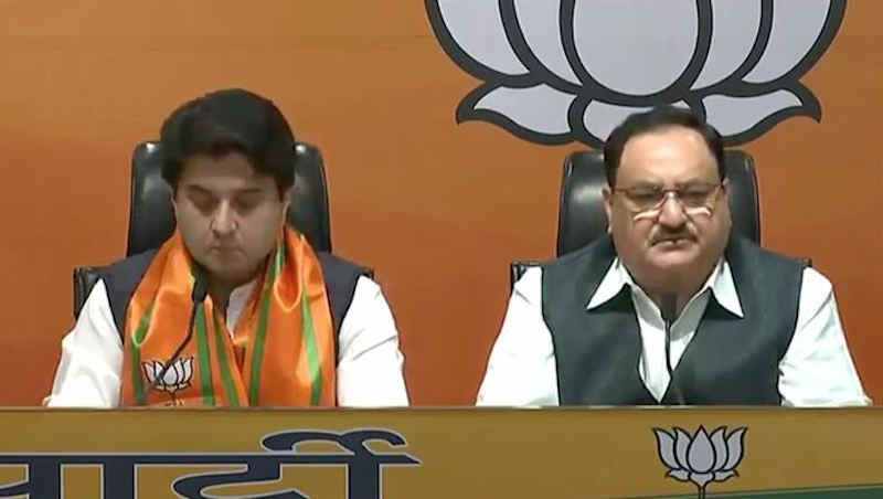 Jyotiraditya Scindia with BJP National President JP Nadda. Photo: BJP