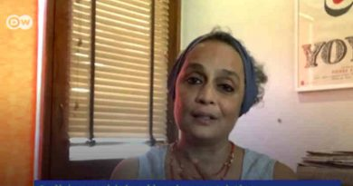 Screengrab of Arundhati Roy from the DW interview