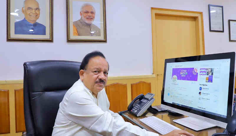India's Minister of Health & Family Welfare, Dr Harsh Vardhan launching the COVID India Seva on April 21, 2020.