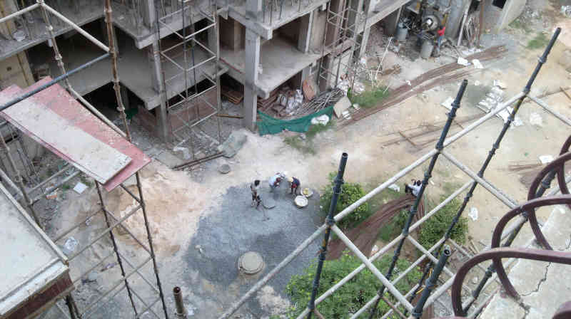 S-Gang members are carrying out construction activity with external construction workers and in connivance with construction companies to spread coronavirus at DPS CGHS, Sector 4, Dwarka, New Delhi. Photo: RMN News Service