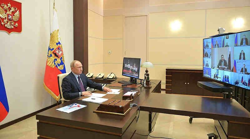 The President of Russia, Vladimir Putin, holding a video conference on May 6, 2020 with his colleagues to revive the Russian economy damaged by the coronavirus (Covid-19) outbreak. Photo: Kremlin