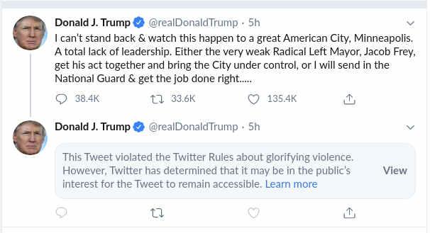Twitter warning message under Trump's offensive tweet