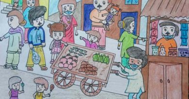 Illustration shows that people in Delhi do not observe precautionary Covid guidelines such as social-distancing and most people roam in the streets without wearing face masks. Illustration for RMN News Service by 13-year-old school student Imrana who lives in Delhi.