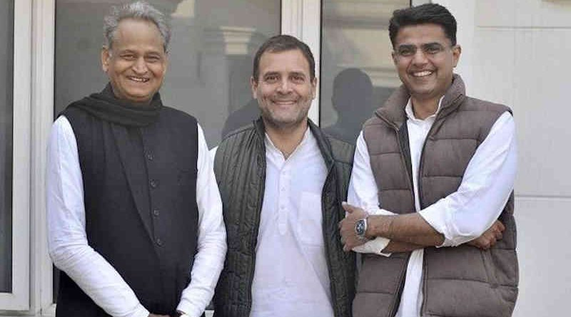 Ashok Gehlot, Rahul Gandhi, and Sachin Pilot. Photo: Congress (file photo)