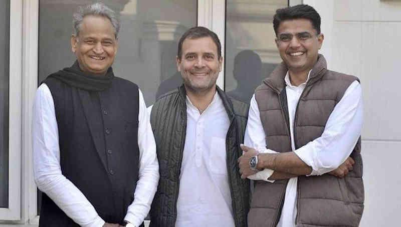 Ashok Gehlot, Rahul Gandhi, and Sachin Pilot. Photo: Congress (file photo)