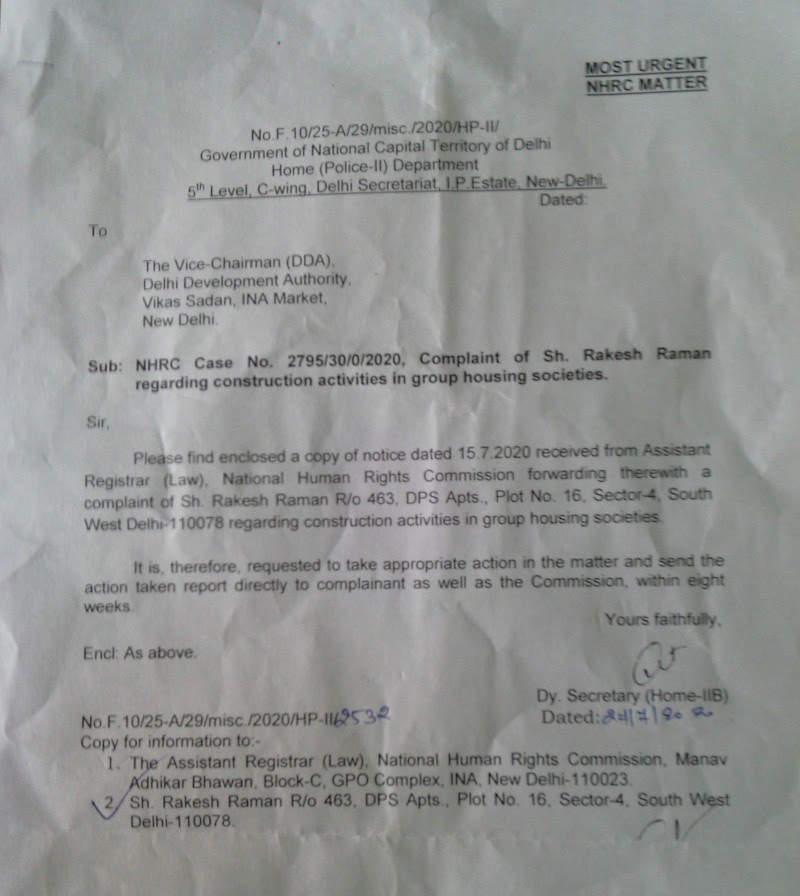 Letter from Home (Police-II) Department of Delhi Government under NHRC directions to Vice Chairman DDA regarding illegal construction activities in Delhi's group housing societies.