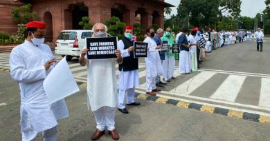 Members of Parliament (MPs) in India protesting in the Parliament complex on September 23, 2020 against the new farm laws announced by the government. Photo: Congress
