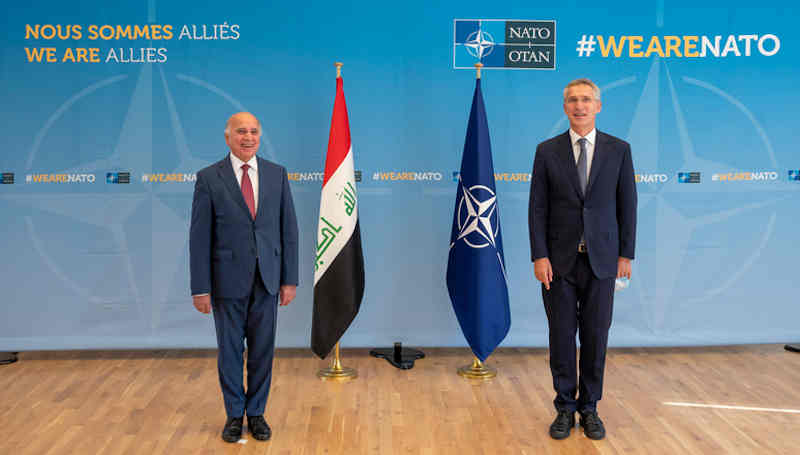NATO Secretary General Jens Stoltenberg with the Foreign Minister of Iraq Mr. Fuad Mohammad Hussein on September 16, 2020 at NATO Headquarters in Brussels. Photo: NATO