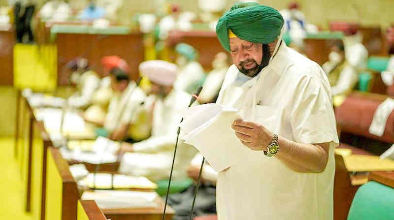 Punjab Chief Minister (CM) Amarinder Singh introduces new Bills in the Vidhan Sabha on October 20, 2020. Photo: Punjab CM