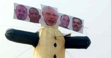 Effigy of PM Narendra Modi along with his BJP party colleagues, including Amit Shah, Adityanath, and Rajnath Singh, ready to be burnt on the occasion of Dussehra on October 25, 2020. Photo: Punjab Youth Congress