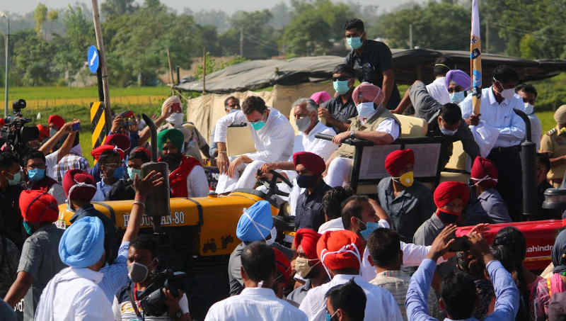 Congress leader Rahul Gandhi participating in a farmers' protest in Punjab on October 4, 2020. Photo: Congress