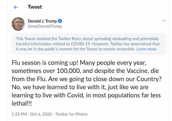 Trump's misleading tweet on Covid-19