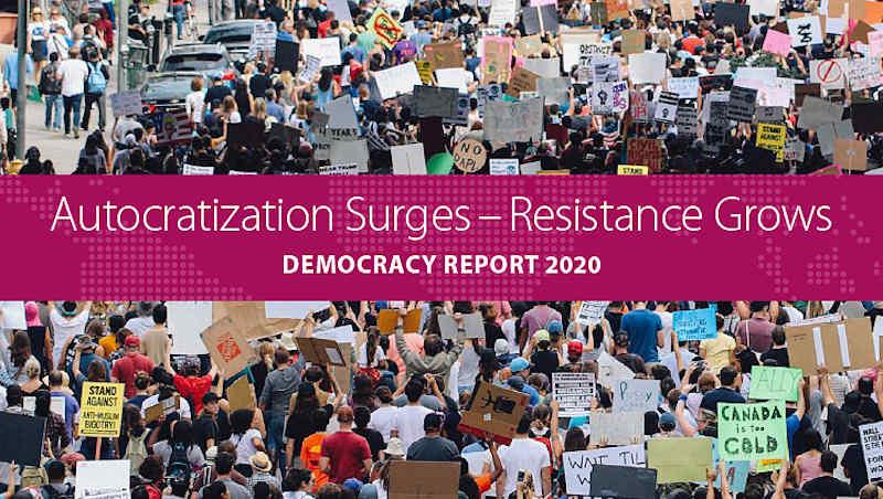 Autocratization Surges–Resistance Grows Democracy Report 2020. Photo: V-Dem Institute