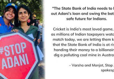 Protesters Display 'No $1B Adani Loan' Signs in India-Australia Cricket Match