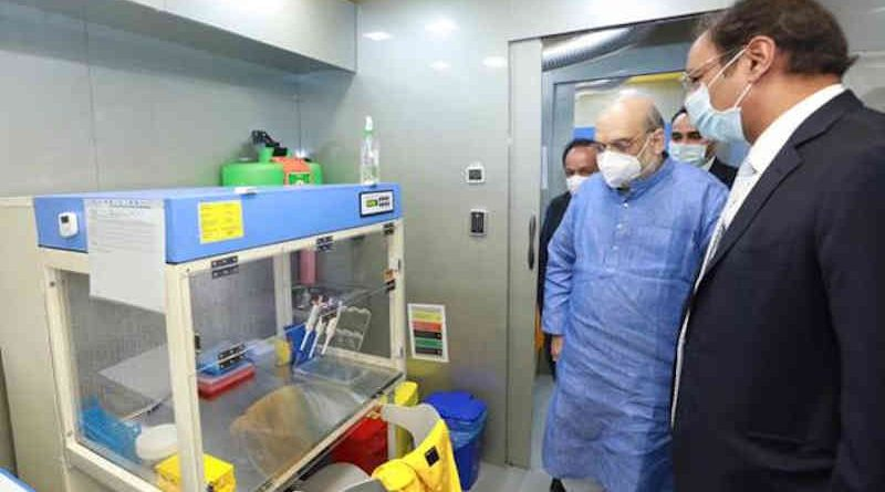India's Home Minister Amit Shah inaugurating a mobile Covid-19 RT-PCR Lab in New Delhi on November 23, 2020. Photo: PIB