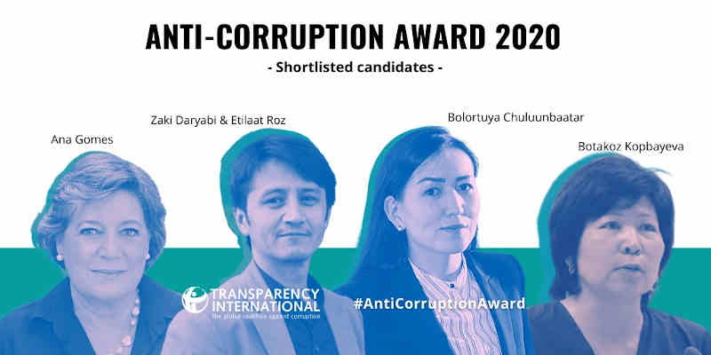 Shortlisted candidates for the 2020 Anti-Corruption Award. Photo: Transparency International