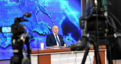 Russian President Vladimir Putin addressing his annual press conference on December 17, 2020. Photo: Kremlin