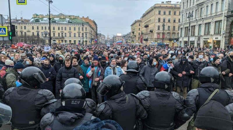 Protesters who gather in Russia against the authoritarian regime of President Vladimir Putin blocked by Russian security forces on January 23, 2021. Photo: Anti-Corruption Foundation of Russian activist and opposition leader Alexei Navalny