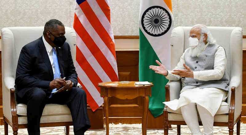 The U.S. Defence Secretary, Mr. Lloyd Austin calls on India's Prime Minister, Narendra Modi, in New Delhi on March 19, 2021. Photo: PIB